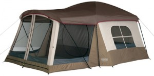 Wenzel Klondike 16 X 11-Feet Eight-Person Family Cabin Dome Tent (Light Grey/Taupe/Red)