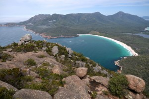 Wineglass Bay and The Hazards from Mt Amos peak Freycinet Experience Walk in Tasmania Australia