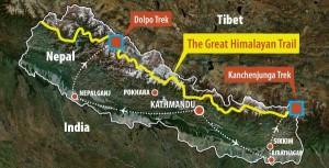Great Himalayan Trail Nepal map