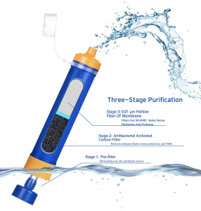 Etekcity Portable Water Filter Filtration Straw Purifier Survival Gear Emergency Camping Equipment - 3 stage purification
