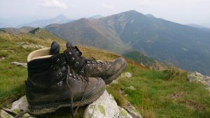 Hiking Boots on rocks in the mountain