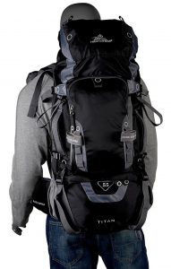 High Sierra Titan 55 Frame Backpack - on back comfortable