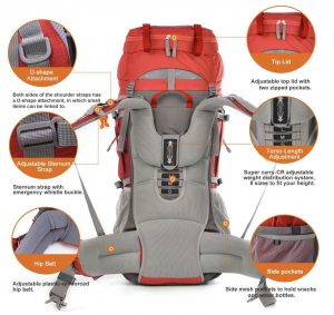 Mountaintop 70L+10L Internal Frame Backpack - features back